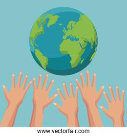 color poster group of human hands trying to reach a earth world