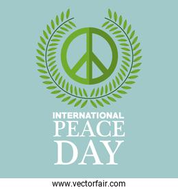 color poster crown of leaves around of symbol international peace day