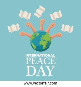 color poster set hands holding a white flag waving over a earth world international peace day