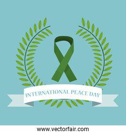 color poster crown of leaves with label international peace day text around of green bow lace symbol