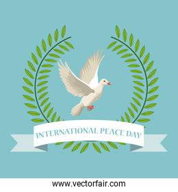color poster crown of leaves with label international peace day text around of pigeon flying
