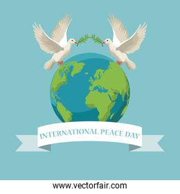 color poster pair pigeons flying with olive branch in peak and earth world with label international peace day