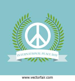 color poster crown of leaves around of symbol and ribbon of international peace day
