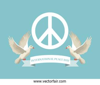 color poster with white peace and love symbol and pair pigeons flying with ribbon international peace day