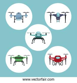 color background with circular frame set quadrocopters and drones