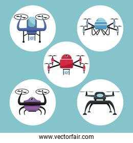 color background with circular frame set icons of quadrocopters and drones