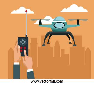 sky landscape with buildings scene and people handle remote control with blue drone with two airscrew flying