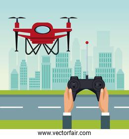sky landscape with buildings and street scene with people handle remote control with red drone with two airscrew flying