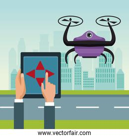 sky landscape with buildings and street scene with people handle remote control with purple robot drone with two airscrew flying