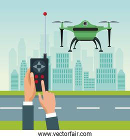 sky landscape with buildings and street scene with people handle remote control with green robot drone with two airscrew flying and base