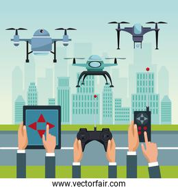 sky landscape with buildings and street scene with people handle remotes control with set robot drones with two airscrew flying and base