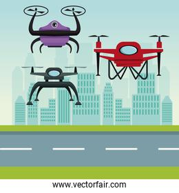 sky landscape with buildings and street scene with modern robot drones with two airscrew flying and base