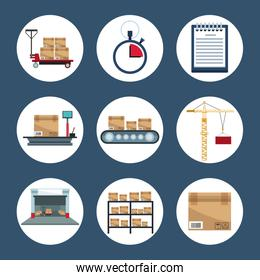 color background with circular frame of elements storage logistics