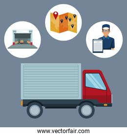 color background with circular frame of icons storage logistics and closeup truck