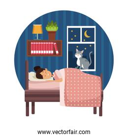 white background with circular colorful scene girl sleep with blanket in bedroom