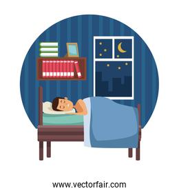 white background with circular colorful scene man sleep with blanket in bedroom