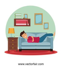 white background with circular colorful scene man sleep in sofa on the living room