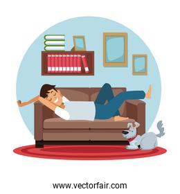 white background with circular colorful scene man sleep in sofa with dog pet