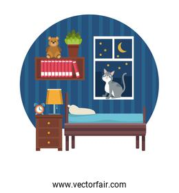 white background with circular colorful scene boys bedroom in the night