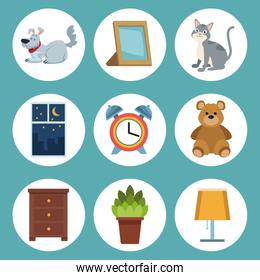 color background with circular frame icons of elements sleep time