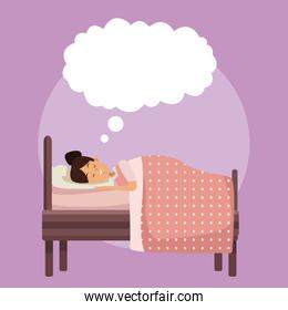 colorful scene girl sleep with blanket in bedroom with cloud callout