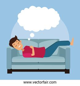 colorful scene guy sleep with in sofa with cloud callout