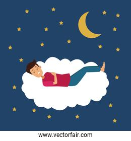 colorful scene of night with guy sleep in cloud with moon and stars