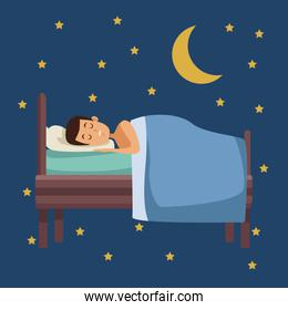 colorful scene of night with guy sleep in bed with moon and stars