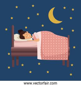 colorful scene of night with girl sleep in bed with moon and stars