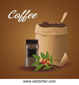 color poster sack with coffee beans and glass container for sale and flower