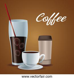 color poster glass cup of iced coffee with porcelain cup and disposable for drinks