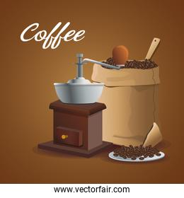color poster grinding with crank and sack container of coffee with beans