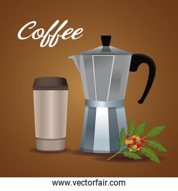 color poster metallic jar of coffee with handle and disposable for hot drinks