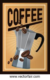 color poster coffee with linear glow and metallic jar of coffee with handle and beans