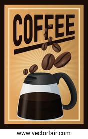 color poster coffee with linear glow and glass jar of coffee with handle and beans