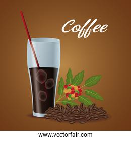 color poster glass cup of iced coffee and beans
