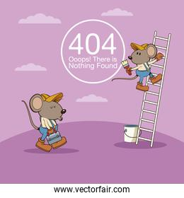 error 404 with funny mouses cartoon