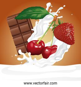 Chocolate and berries flyer