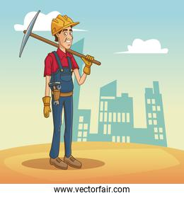 Worker with tool on cityscape cartoon