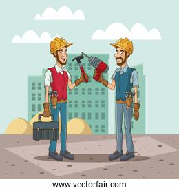 Workers with tool on cityscape cartoon