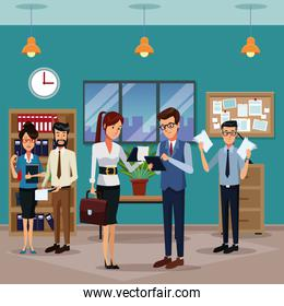 Business people in office cartoon