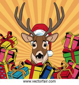 Reindeer with gifts Christmas pop art