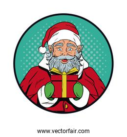 Santa claus with gift Christmas pop art