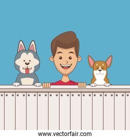 Boy with pets cartoon