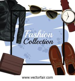 Man fashion clothes and accesories frame