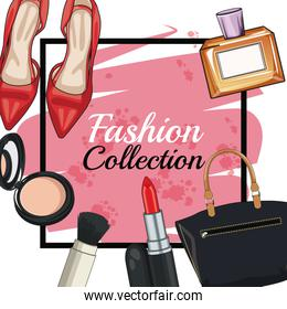 Women fashion accesories and make up frame