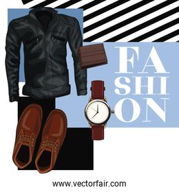 Man fashion clothes and accesories