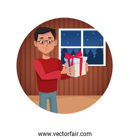 Man with gift in christmas