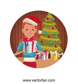 Girl with gift in christmas