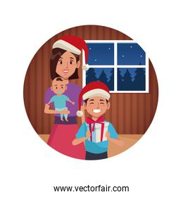 Mom with sons in christmas cartoon